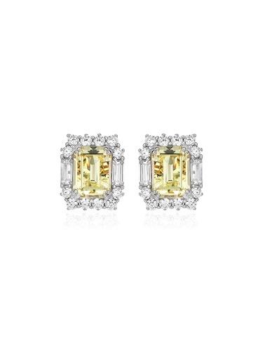 4,4Ct Sarı Pırlanta Efekt Lısa Altın Küpe-Tophills Diamond Co.